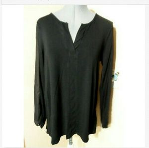 CABLE & GAUGE Sheer sleeve Blouse M Black Tunic LS